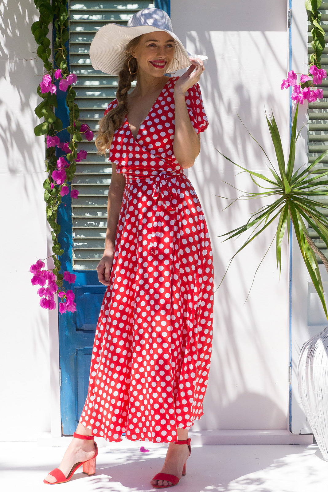 Rita Rio Nessie Red Maxi Wrap Dress with a full frill around the neck and sleeve in a retro inspired red and white spot print on rayon