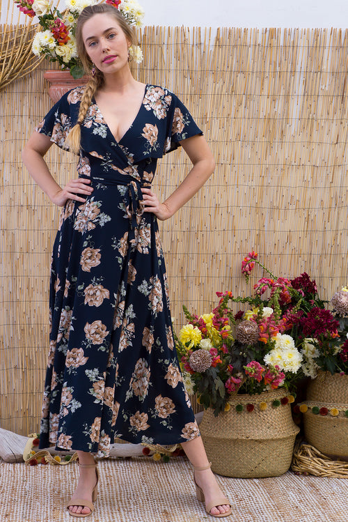 Rio Rita Retro Roses Ink Maxi Wrap Dress