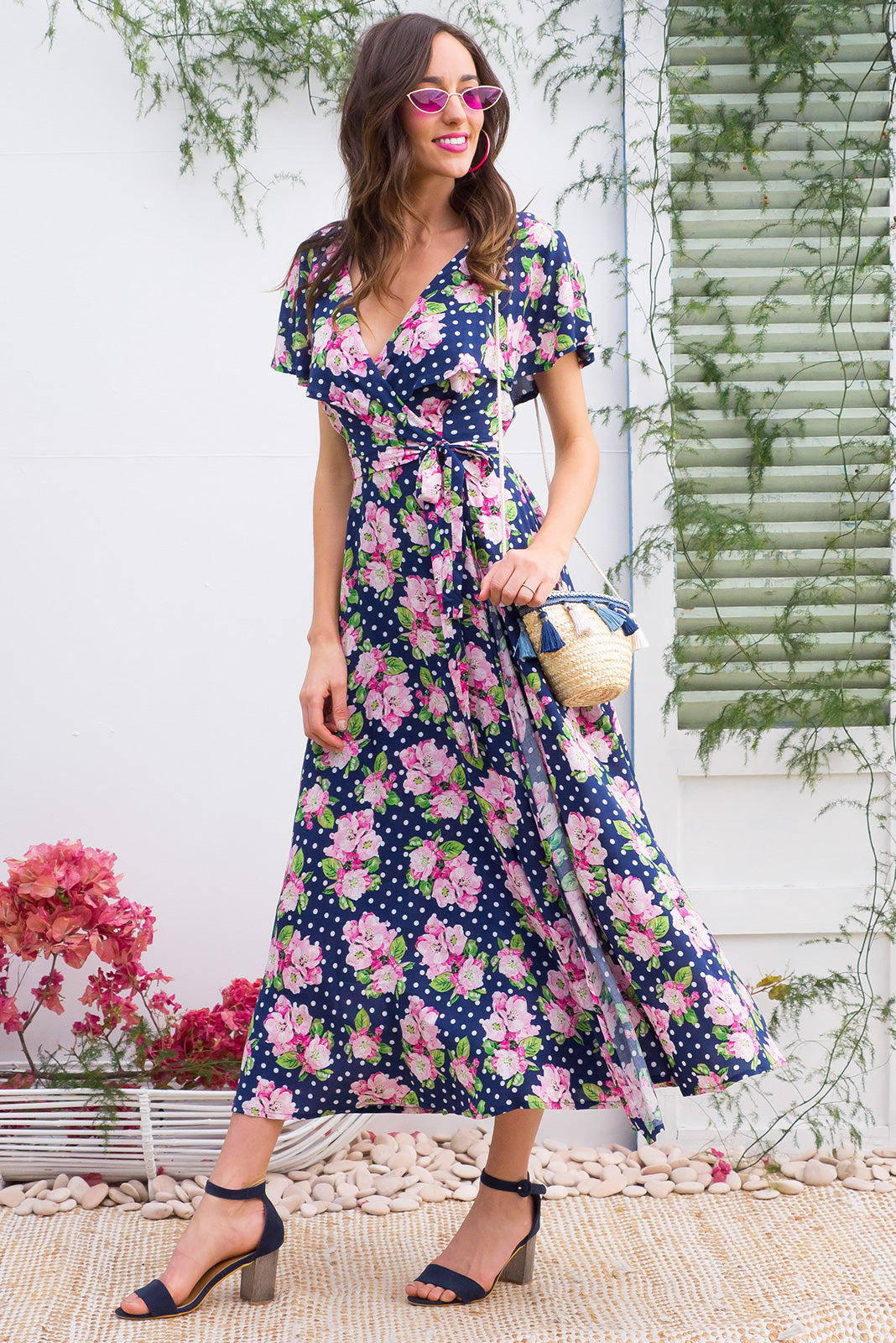 Rio Rita Sweet Spot Maxi vintage inspired Wrap Dress with a full frill around the neck and sleeve in a vibrant blue floral and spot print on rayon
