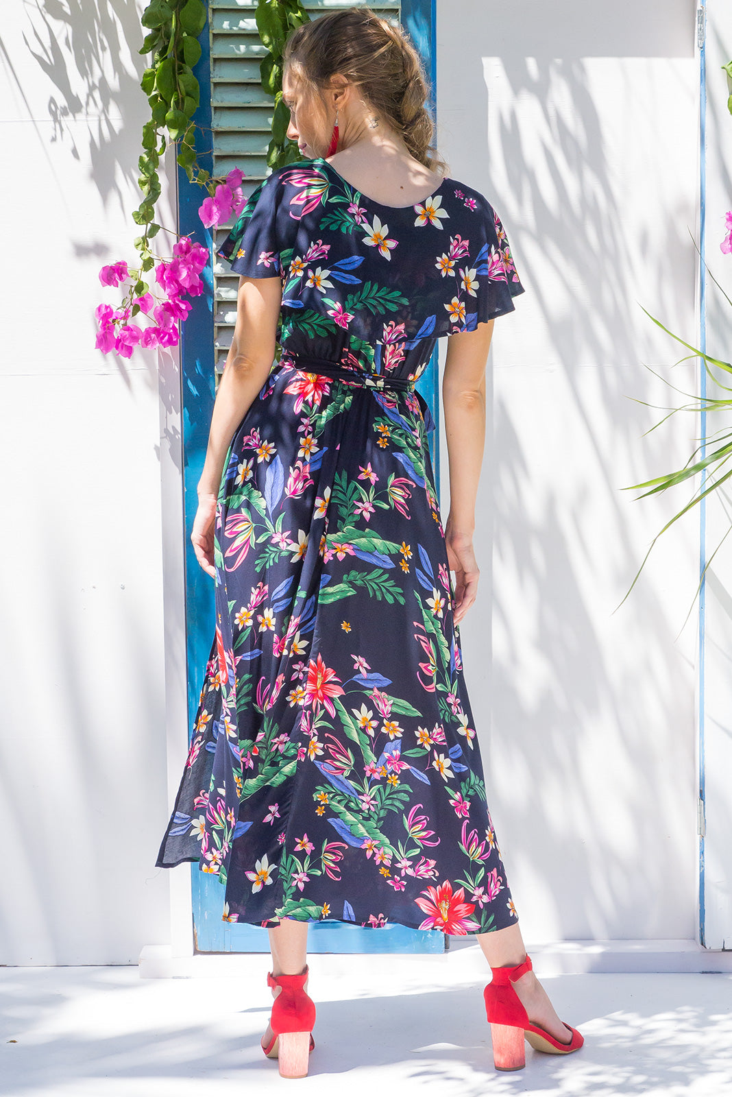 Rita Rio Vista Ink Maxi Wrap Dress with a full frill around the neck and sleeve in a gorgeous bright navy floral print on rayon