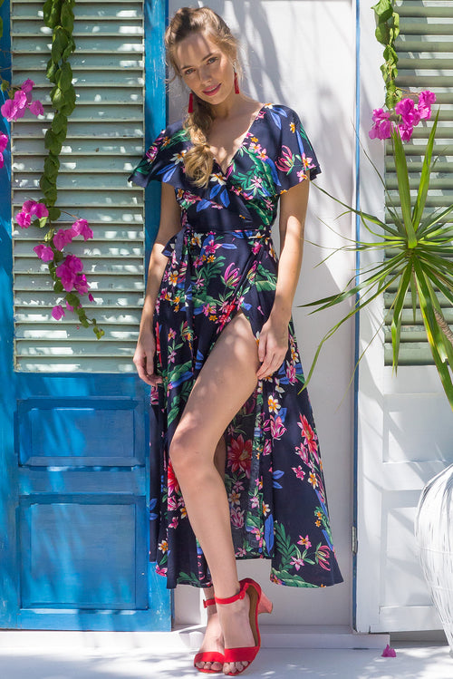 Rio Rita Vista Ink Maxi Wrap Dress