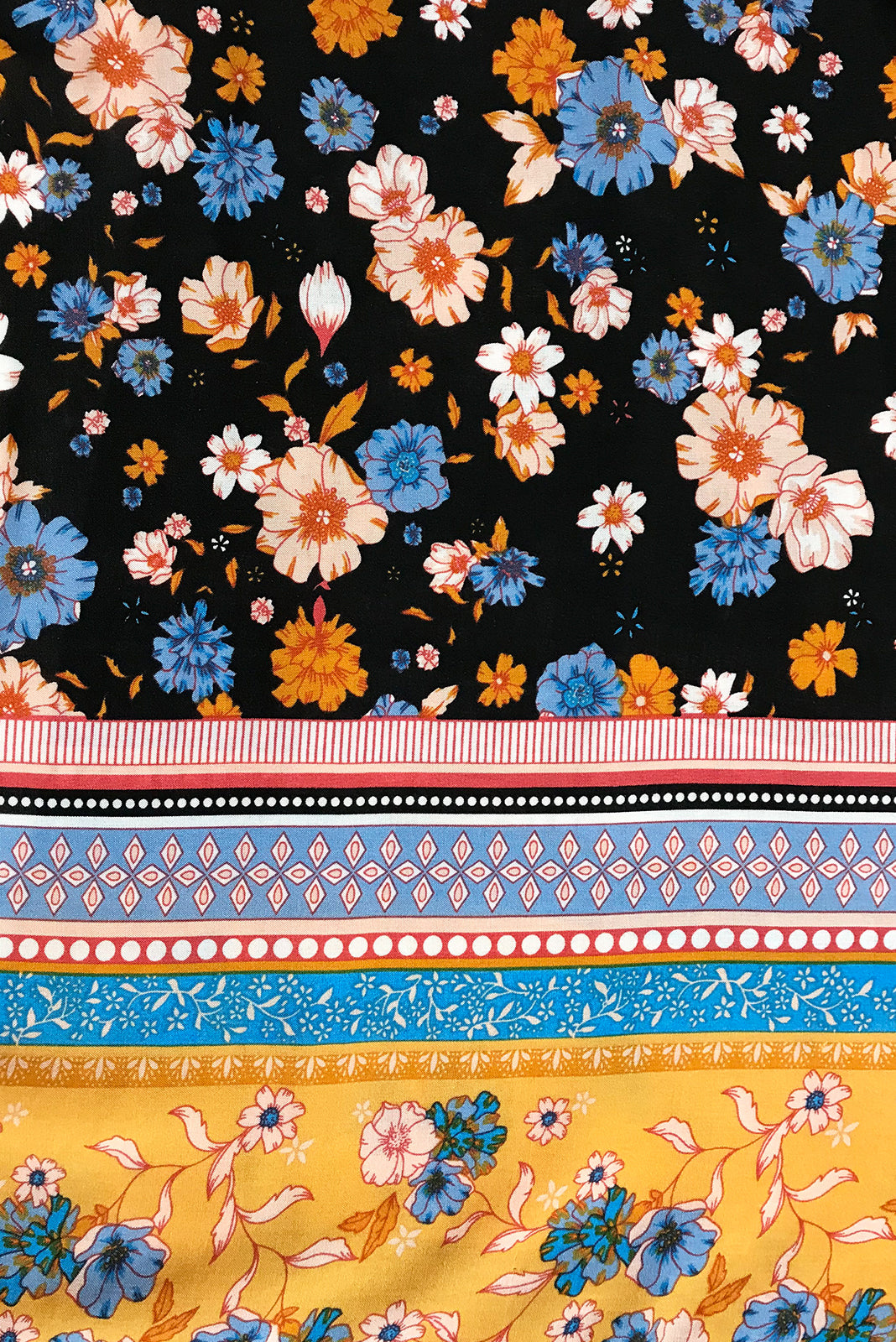 Fabric Swatch of Robe Hana Black featuring woven 100% rayon in Ink base with floral design and bright border print.
