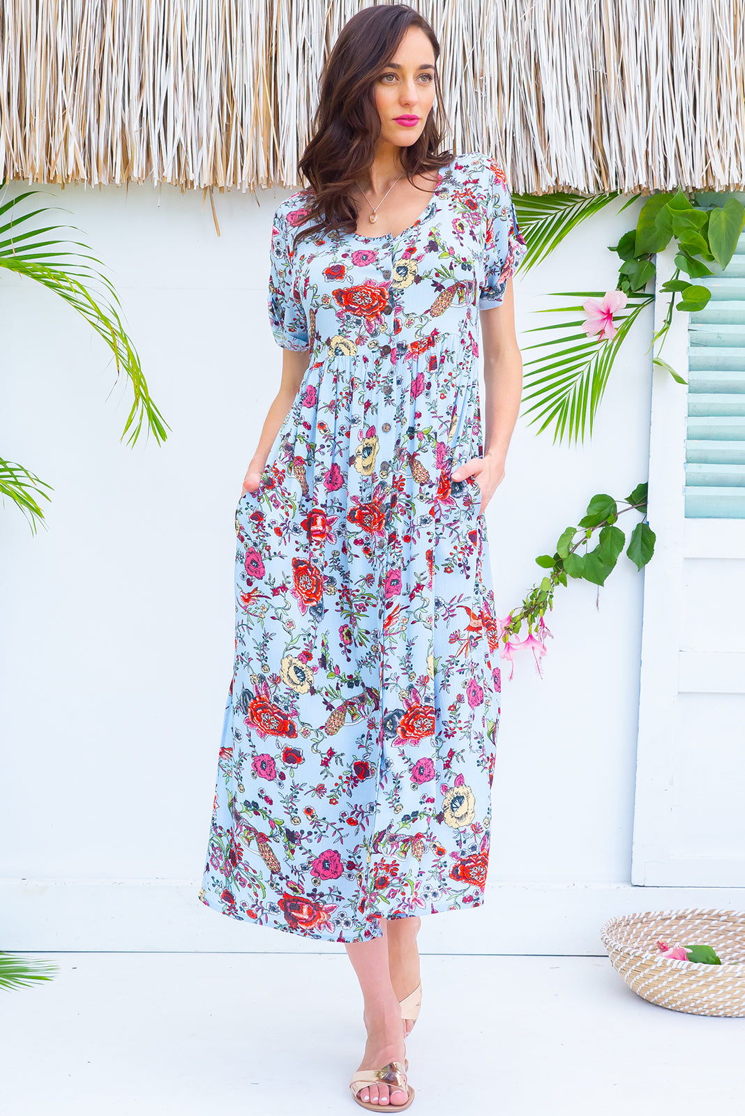 d06eaabade2e Rocco Blue Birds button front maxi dress with roll up tab sleeves, deep  side pockets