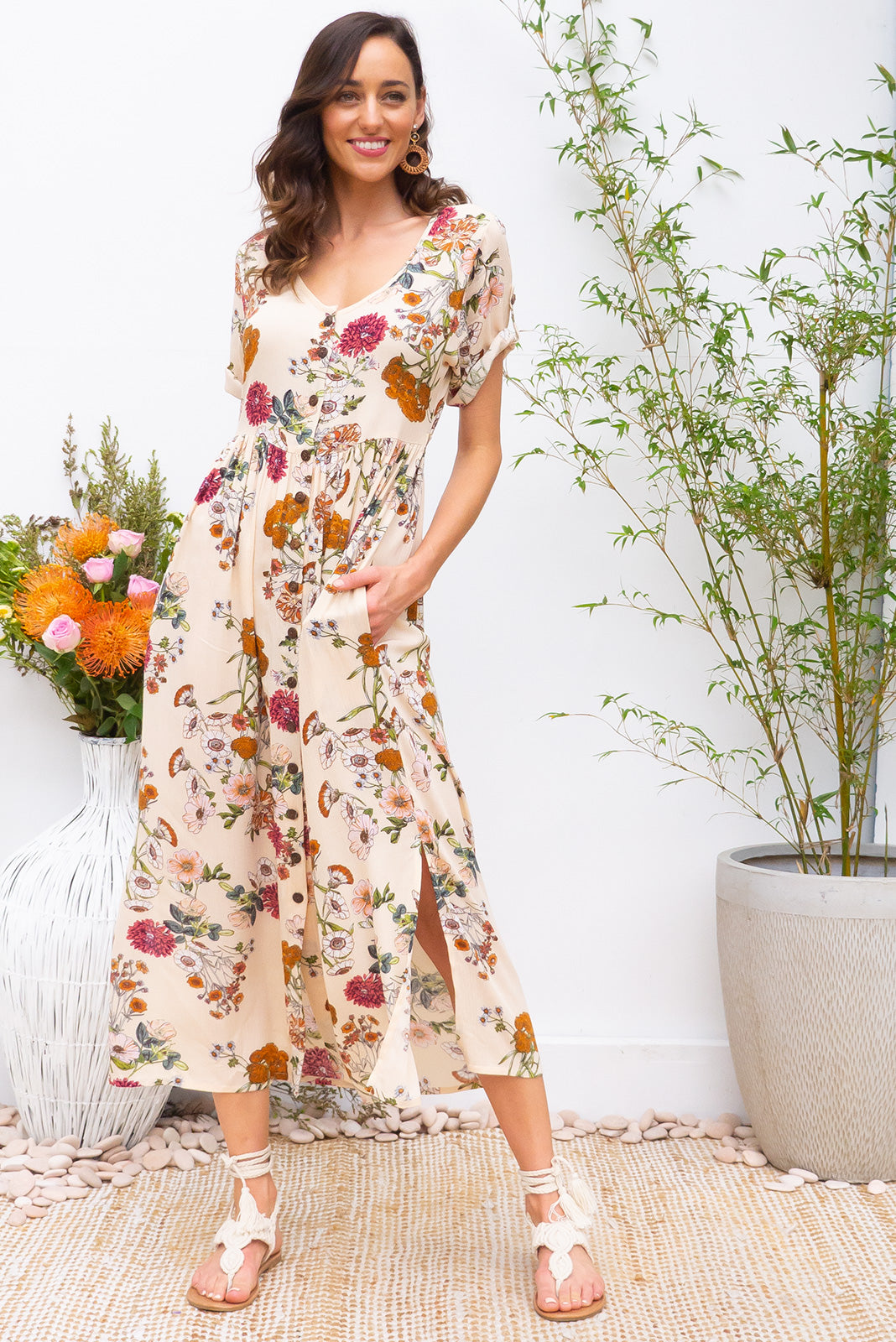 Rocco Buttercup button front maxi dress in soft peach delicate floral print on crinkled rayon fabric