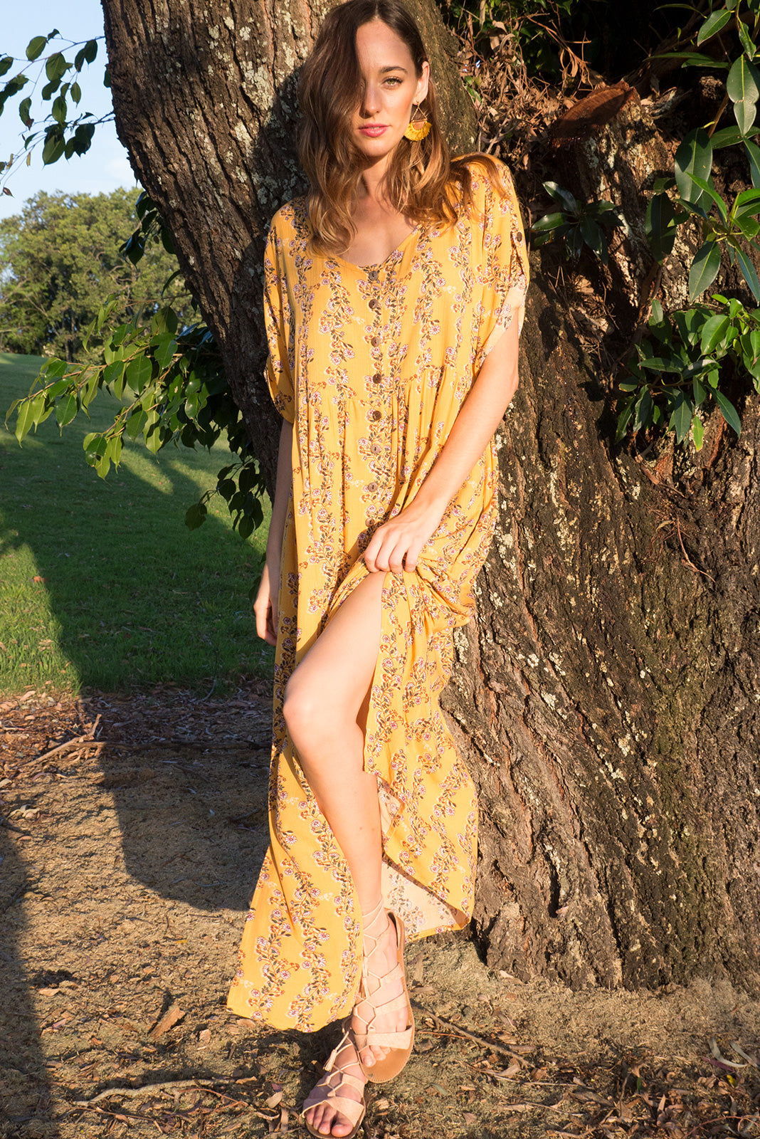 Rocco button front maxi dress in golden yellow with a small vines and daisy print