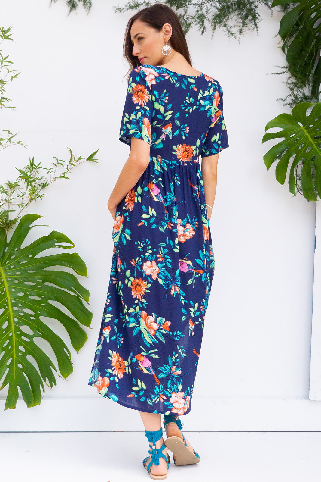 Rocco Navy Birds button front maxi dress in bright navy bird and tropical floral print on woven 100% rayon