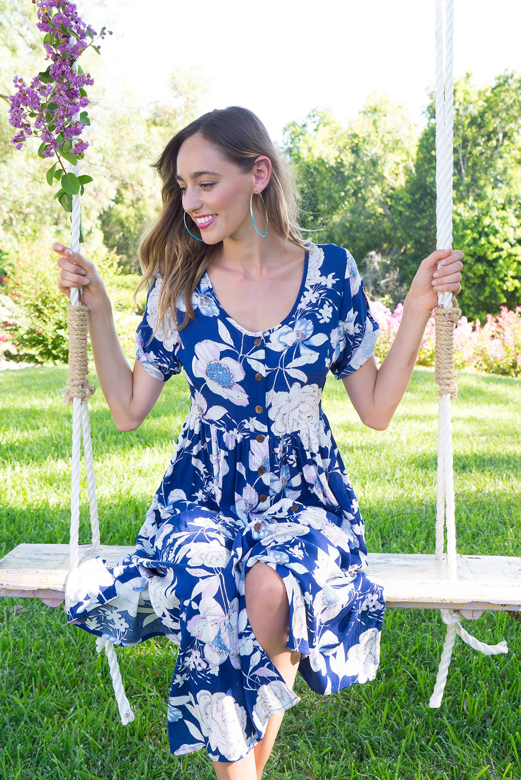 Rocco Nicky Navy button front maxi dress in bright navy floral print on crinkled rayon fabric