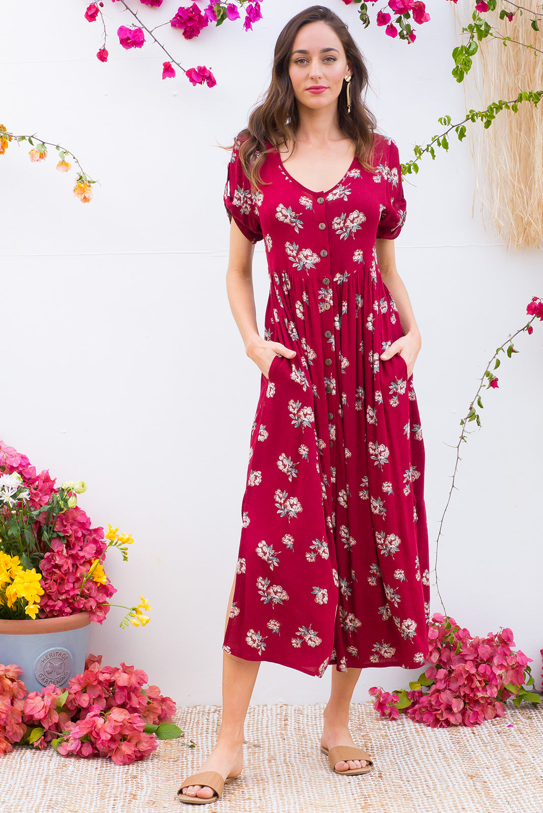 Rocco Pinot Red button front maxi dress in blood red floral print on crinkled rayon fabric