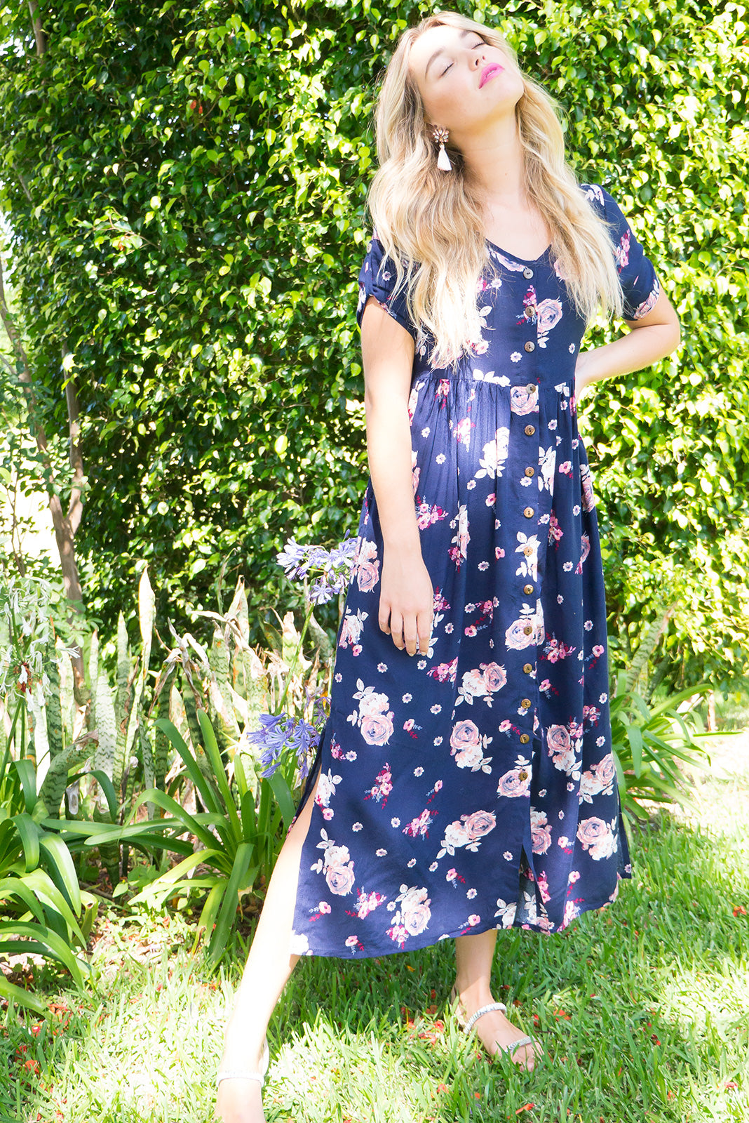 Rocco button front maxi dress in navy with a pink rose print on rayon