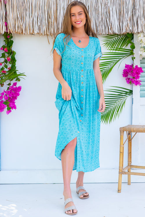 Rocco Sea Glass Blue Maxi Dress