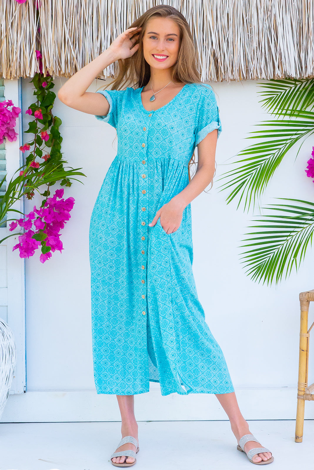 Rocco Sea Glass Blue Maxi Dress, plus size dress with button front, maternity and breastfeeding suitable