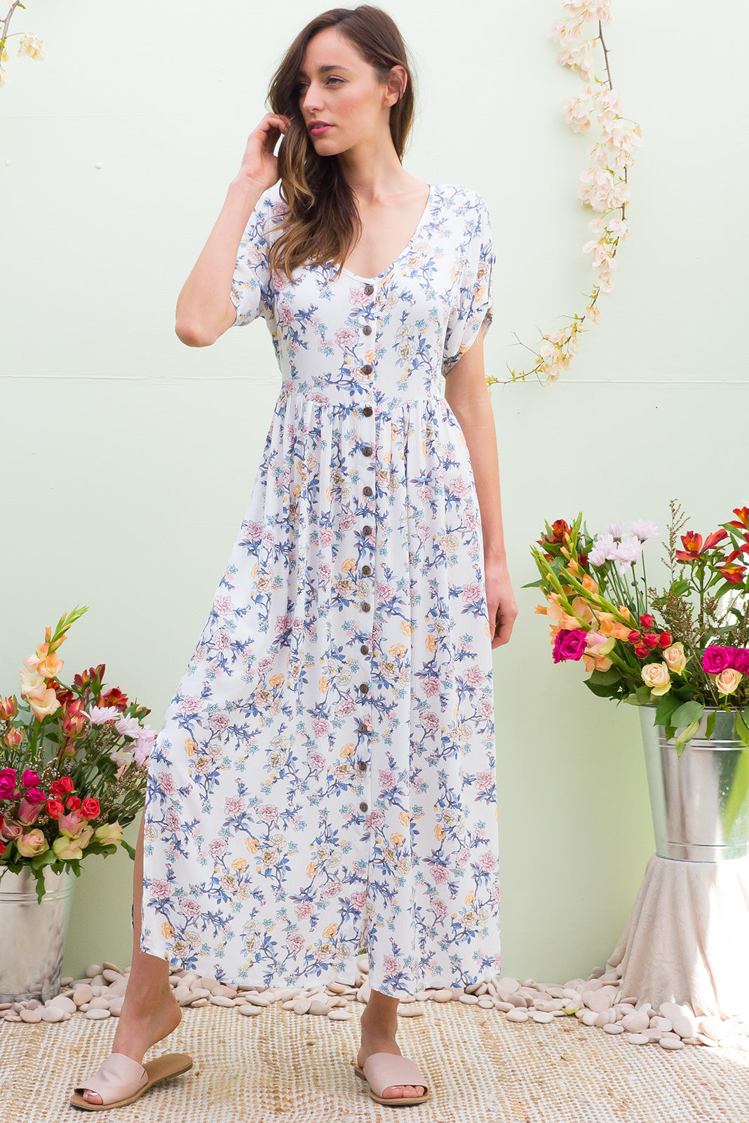 Rocco Winslow White button front maxi dress in white and pastel floral print on crinkled rayon fabric