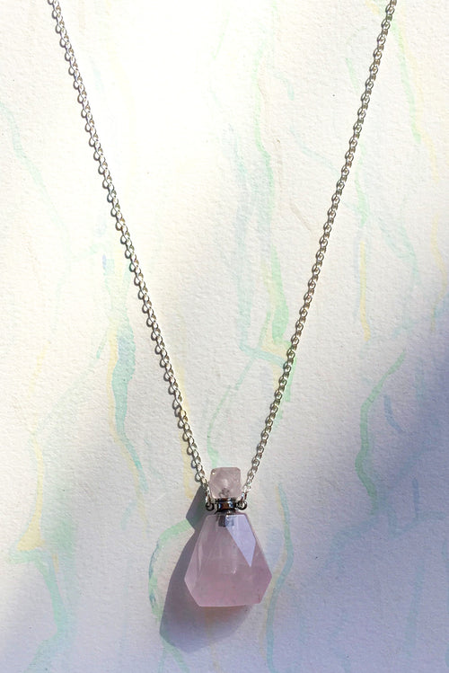 Pendant Crystal Bottle Rose Quartz