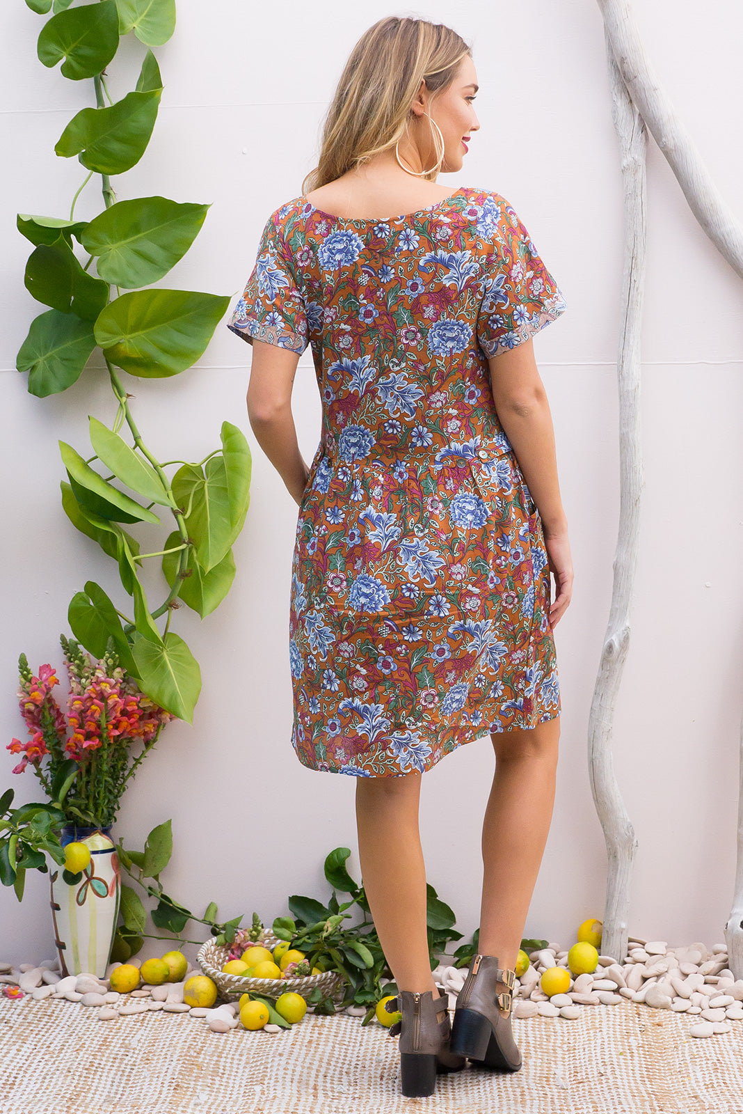 Rosella Rosetti Rust Cotton dress features a button front to the drop waist and 2 front pockets in a gorgeous intricate bohemian print on a cotton rayon blend fabric