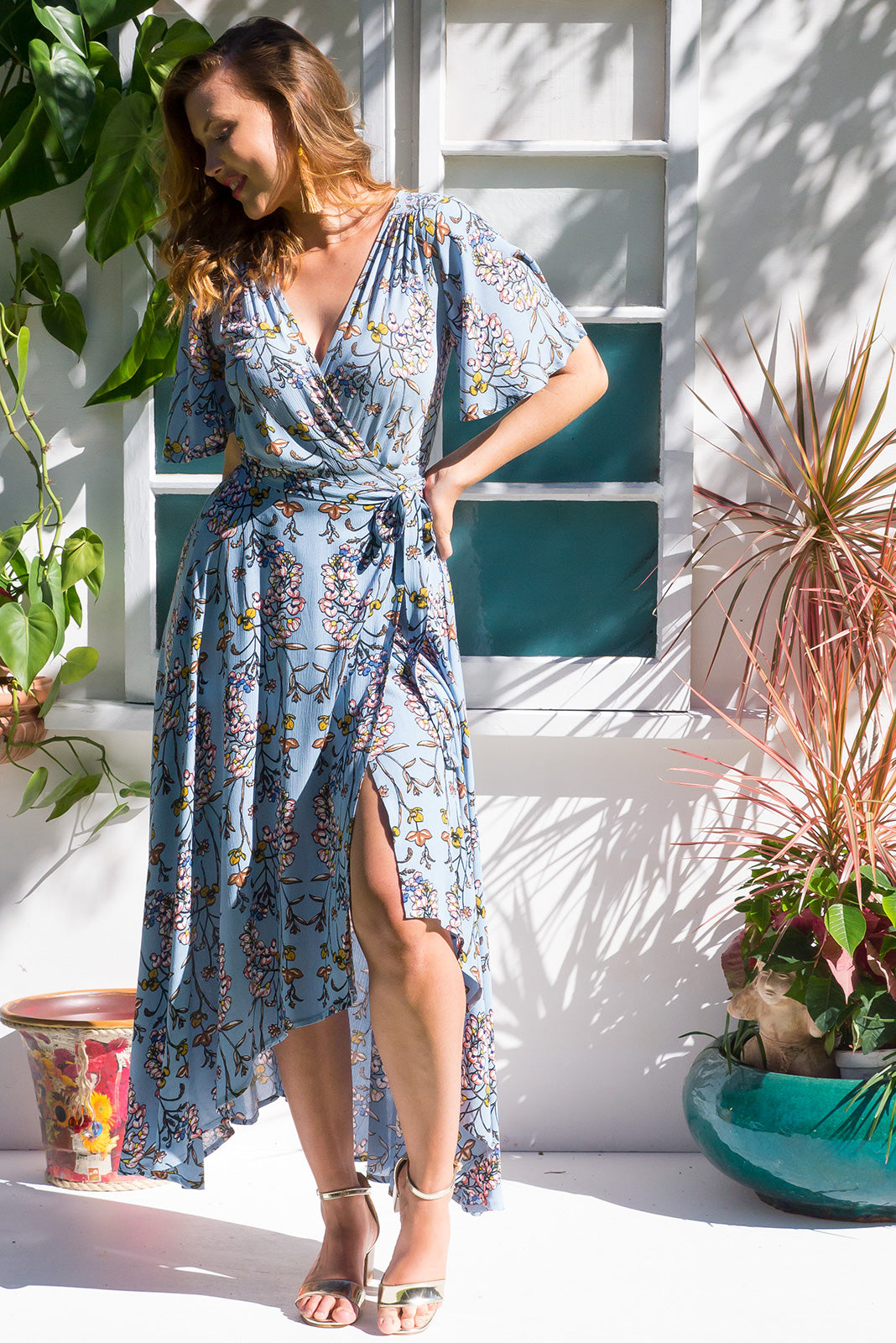 Saffron Orchid Blue Maxi Dress duck egg blue floral print on crinkle rayon and with a flutter sleeve