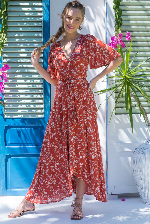 Saffron Tanna Maxi Wrap Dress