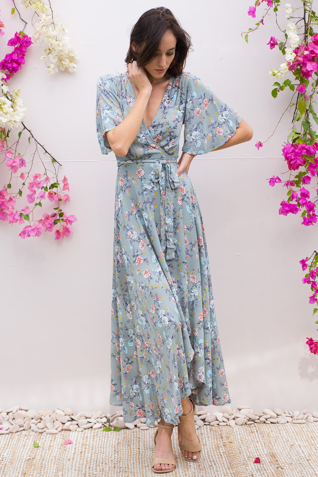 Saffron Winslow Sage Maxi Wrap Dress in soft sage green with a delicate floral print on crinkle rayon and with a flutter sleeve