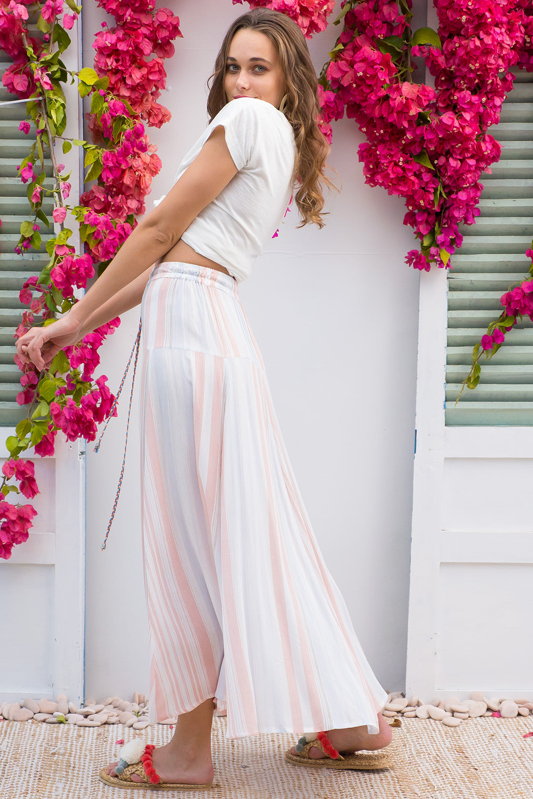 Sahara Skirt Arctic Stripe bohemian inspired maxi skirt in a crinkle textured delicate pastel stripe design on a classic off white base printed rayon