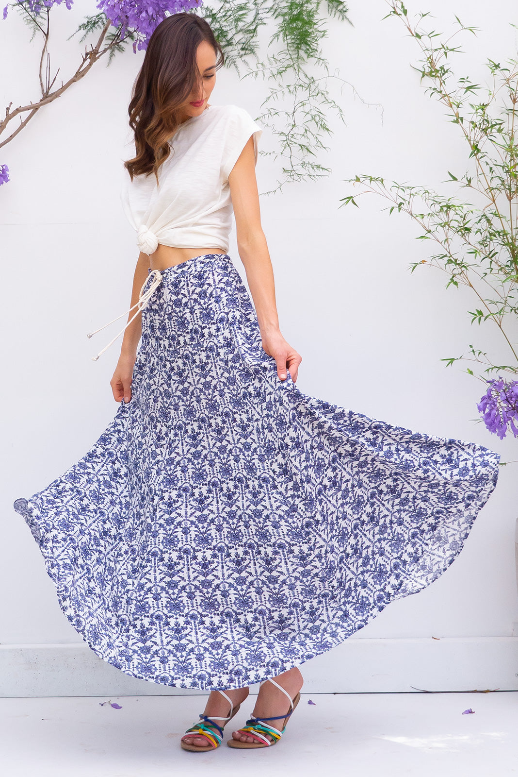 Sahara Skirt Corfu Blue bohemian inspired maxi skirt in a crinkle textured on a bright white and blue printed rayon
