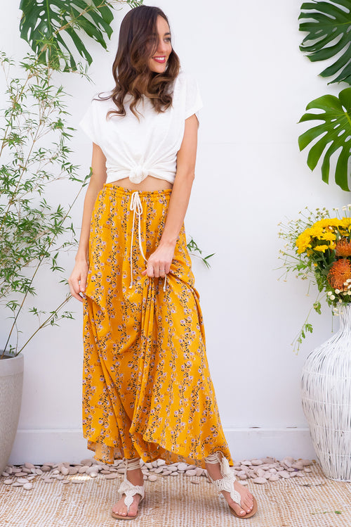 Sahara Gold Vines Maxi Skirt