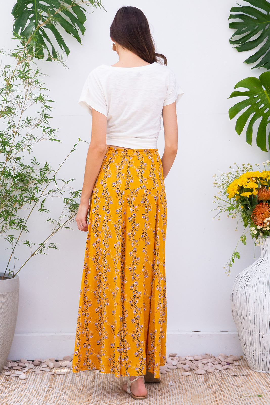 Sahara Skirt Golden Vines bohemian inspired maxi skirt in a crinkle textured 100% rayon with a strong golden yellow vines and daisy print