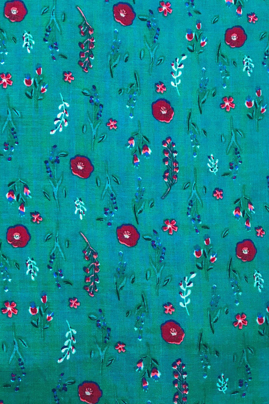 Fabric Swatch of Sails Emerald Garden Maxi Skirt features woven 100% cotton in blue/green base with simple floral pattern.
