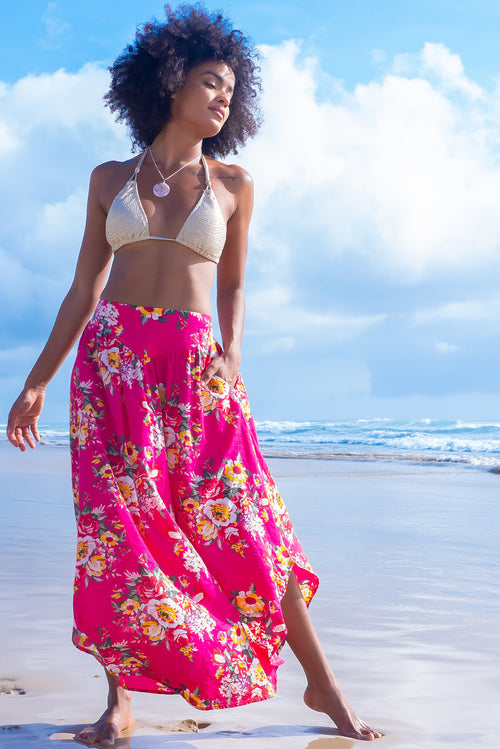 Sails Fuchsia Culebra Cotton Maxi Skirt