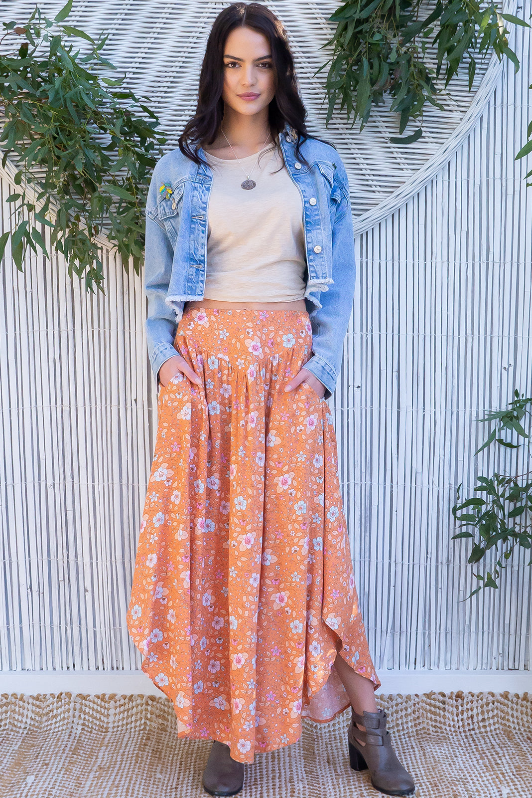 Sails Rust & Roses Maxi Skirt, bohemian vintage inspired style, floral print, v-panelled waist band, side pockets.