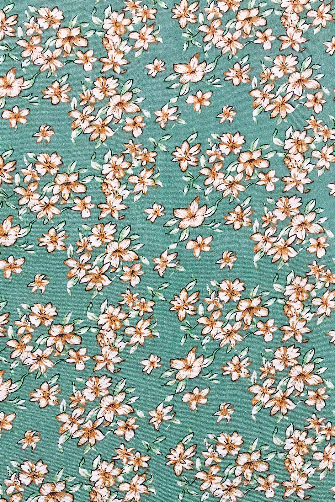 Fabric Swatch of Sails Sage Scatter Maxi Skirt features woven 100% rayon in Soft green base with dainty floral print.