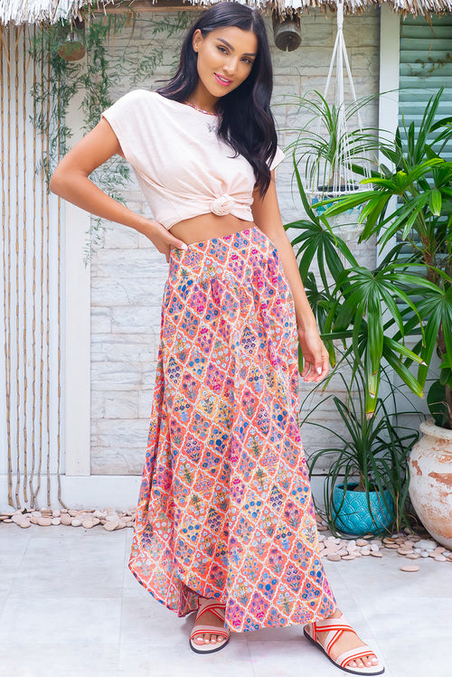 Sails Santara Orange Cotton Maxi Skirt