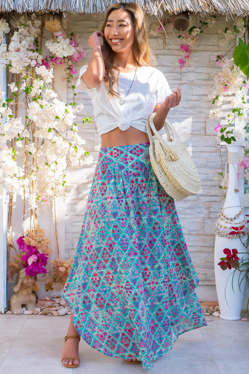 Sails Cadiz Cotton Teal Maxi Skirt