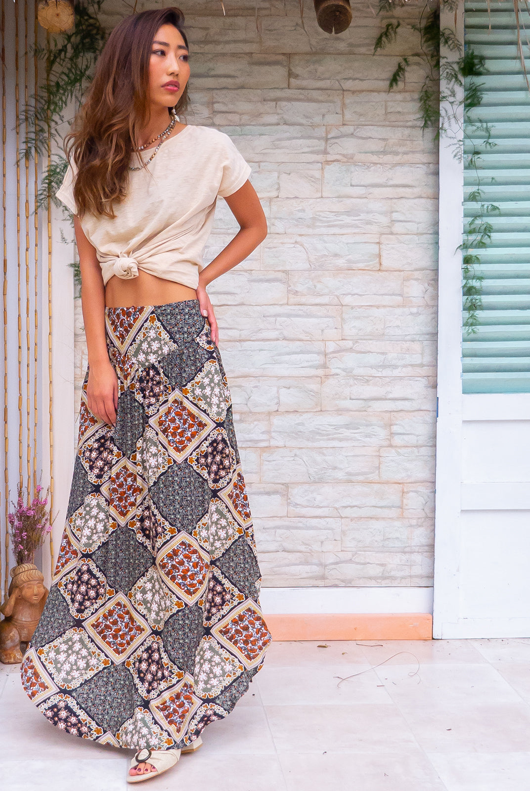 Sails Capitano Maxi Skirt with a soft ruched elastic back and pockets in a gorgeous black based intricate floral patchwork print on rayon fabric
