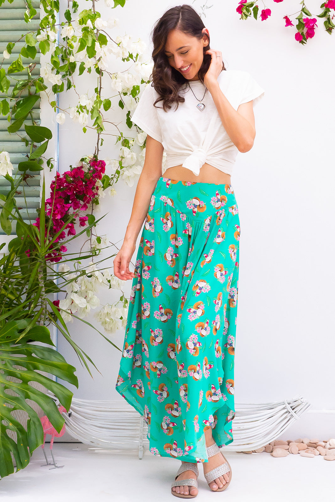 Sails Coconut Green Maxi Skirt with a soft ruched elastic back and pockets in a gorgeous bright aqua sea green with a tropical inspired parrot and coconut print on rayon fabric