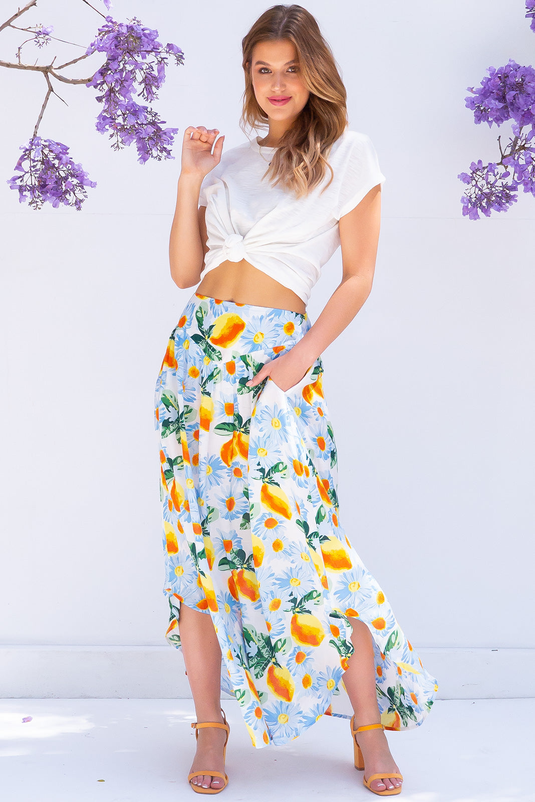 Sails Limoncello Maxi Skirt made from viscose fabric with lemons and daisies print, features flattering waist band and side pockets.