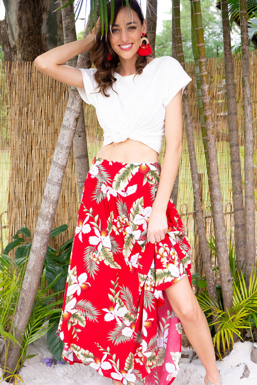 Sails Aloha Red Maxi Skirt