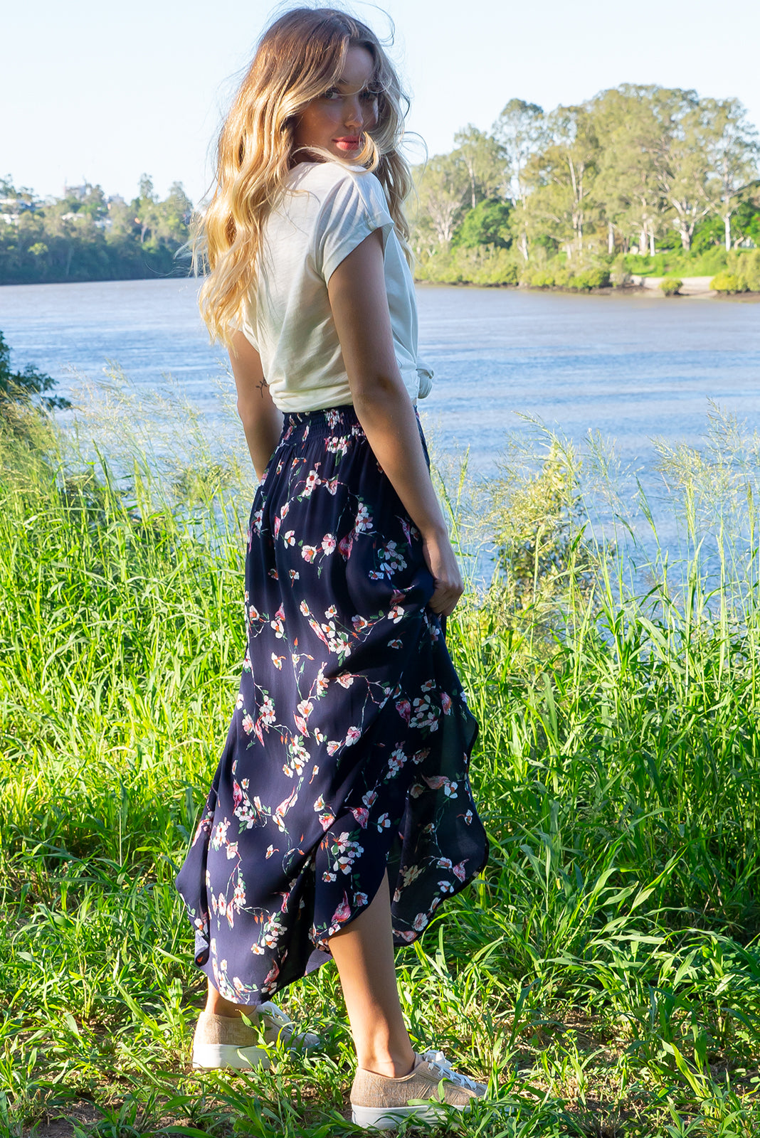 Sails Navy Floral Maxi Skirt with a soft ruched elastic back and pockets in a gorgeous dark inky navy delicate floral print on rayon fabric