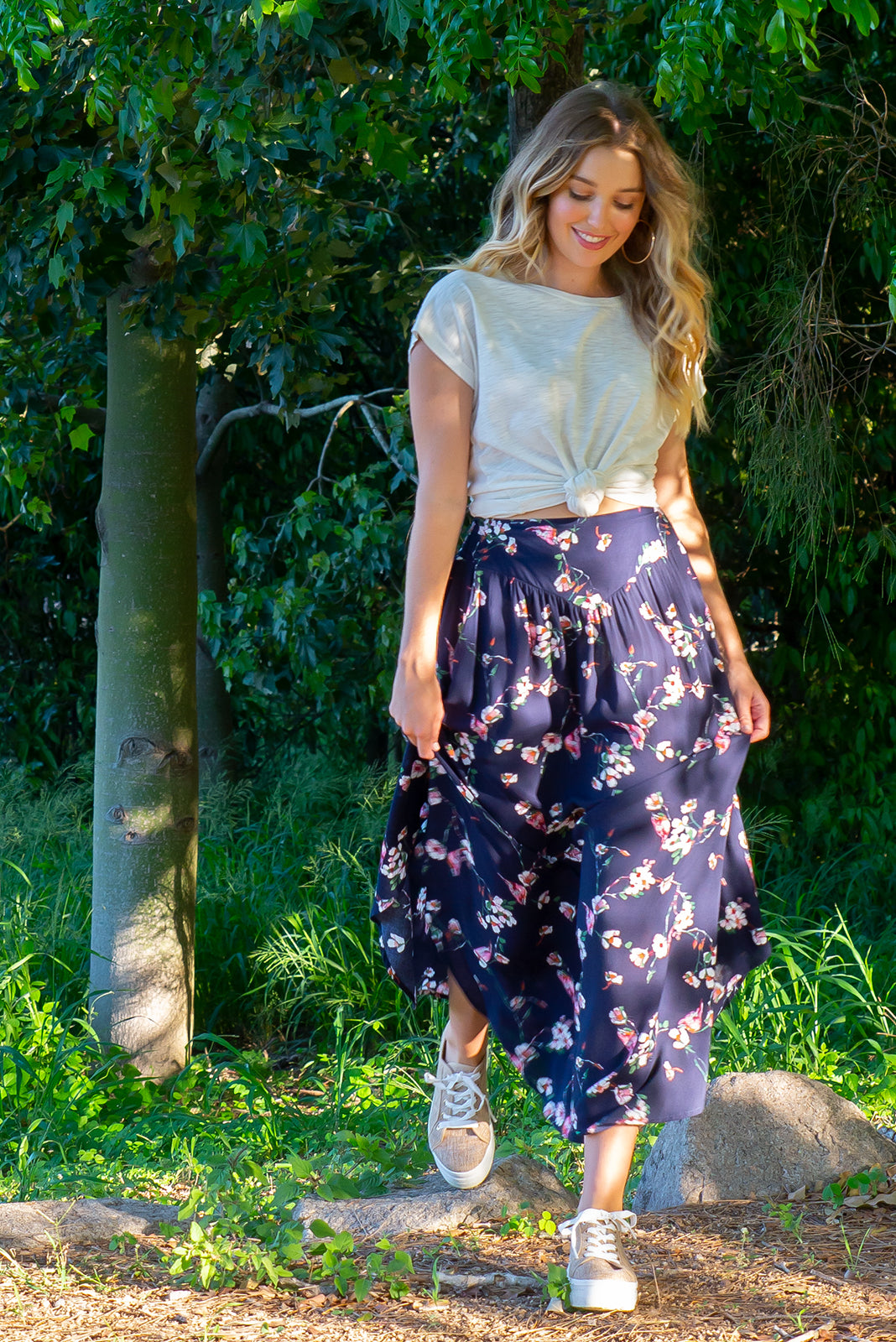 Sails Navy Sparrow Maxi Skirt with a soft ruched elastic back and pockets in a gorgeous dark inky navy delicate floral print on rayon fabric