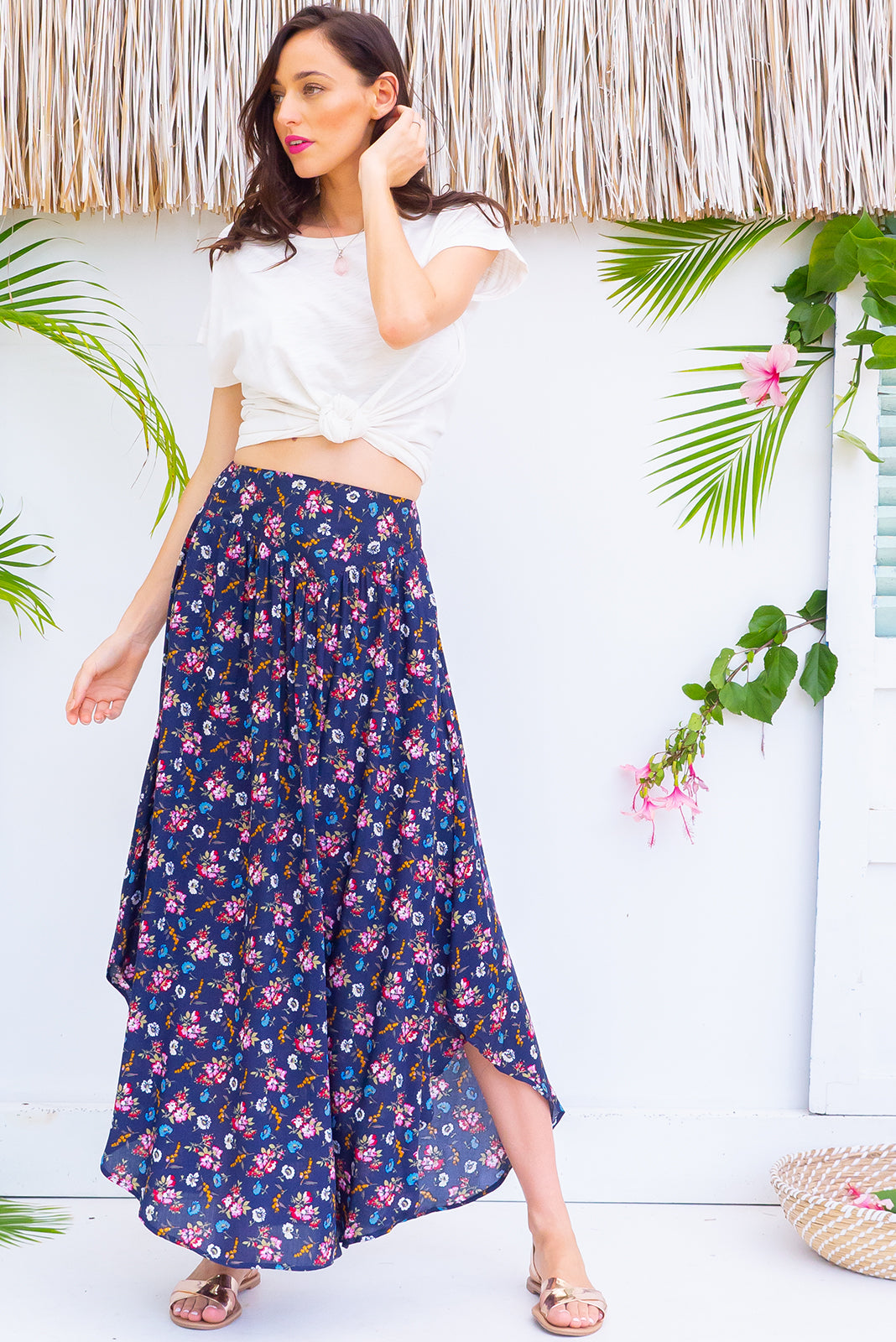 Sails Nova Navy Maxi Skirt with a soft ruched elastic back and pockets in a gorgeous bright navy intricate floral print on rayon fabric