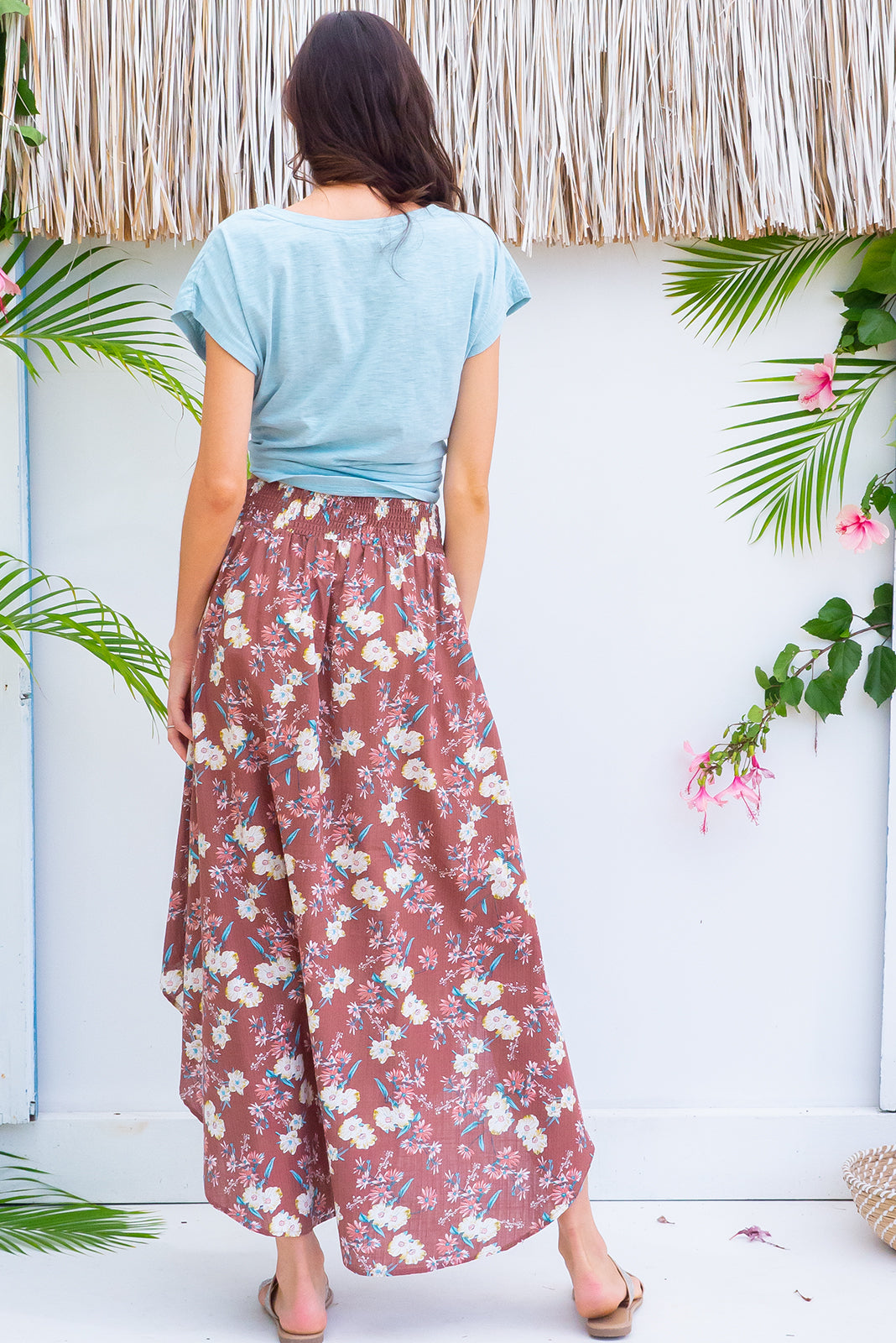 Sails Nutmeg Maxi Skirt with a soft ruched elastic back and pockets in a gorgeous soft terracotta colour with a delicate floral cotton rayon blend fabric