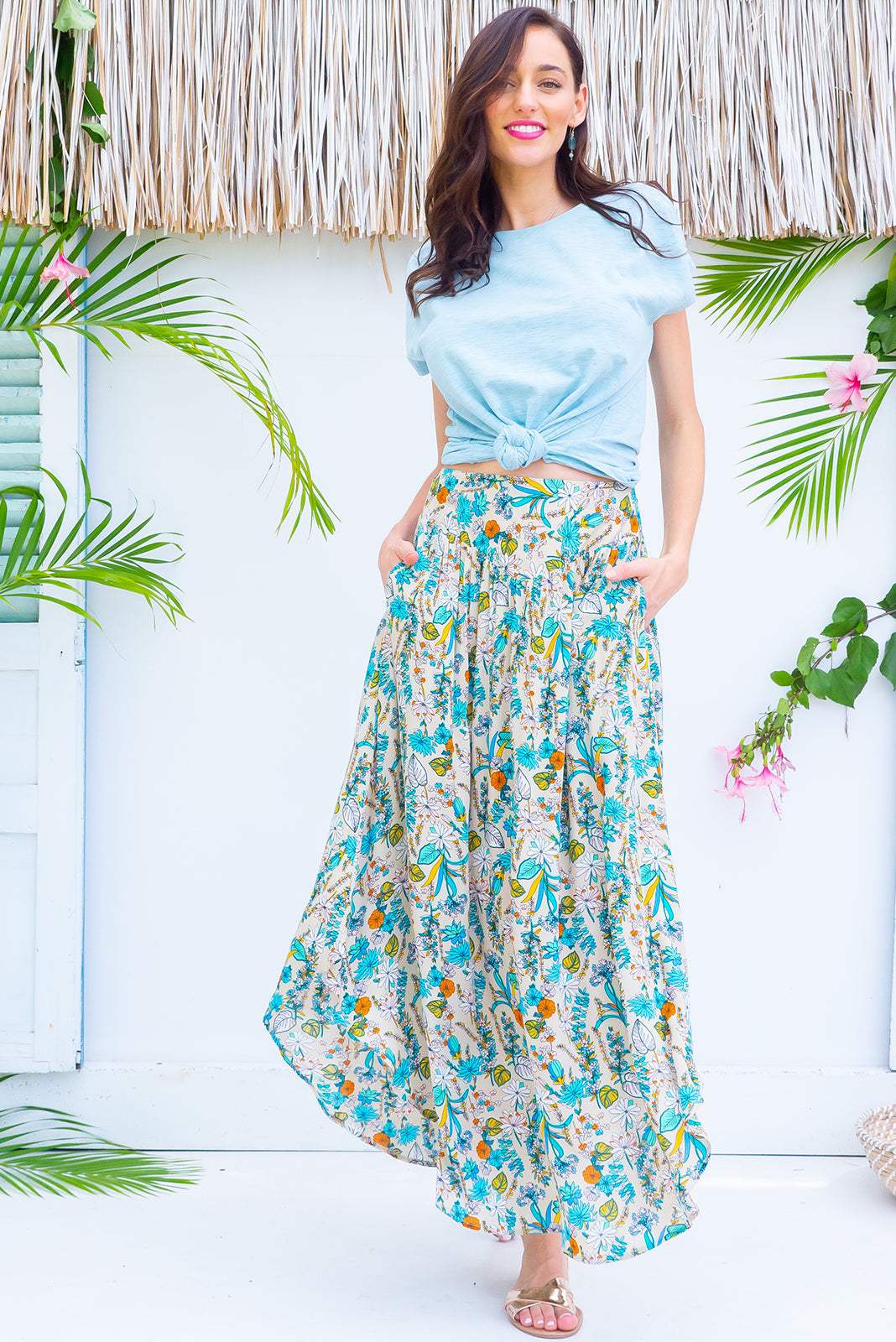 Sails Palma Crema Maxi Skirt with a soft ruched elastic back and pockets in a gorgeous soft cream intricate floral print on rayon fabric