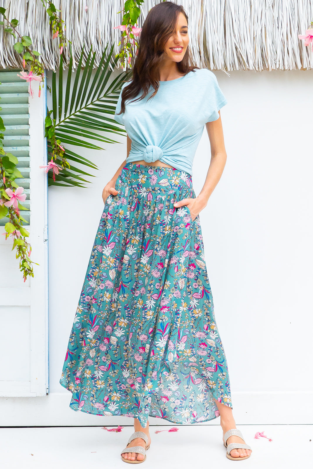 Sails Palma Green Maxi Skirt with a soft ruched elastic back and pockets in a gorgeous fern green intricate floral print on rayon fabric