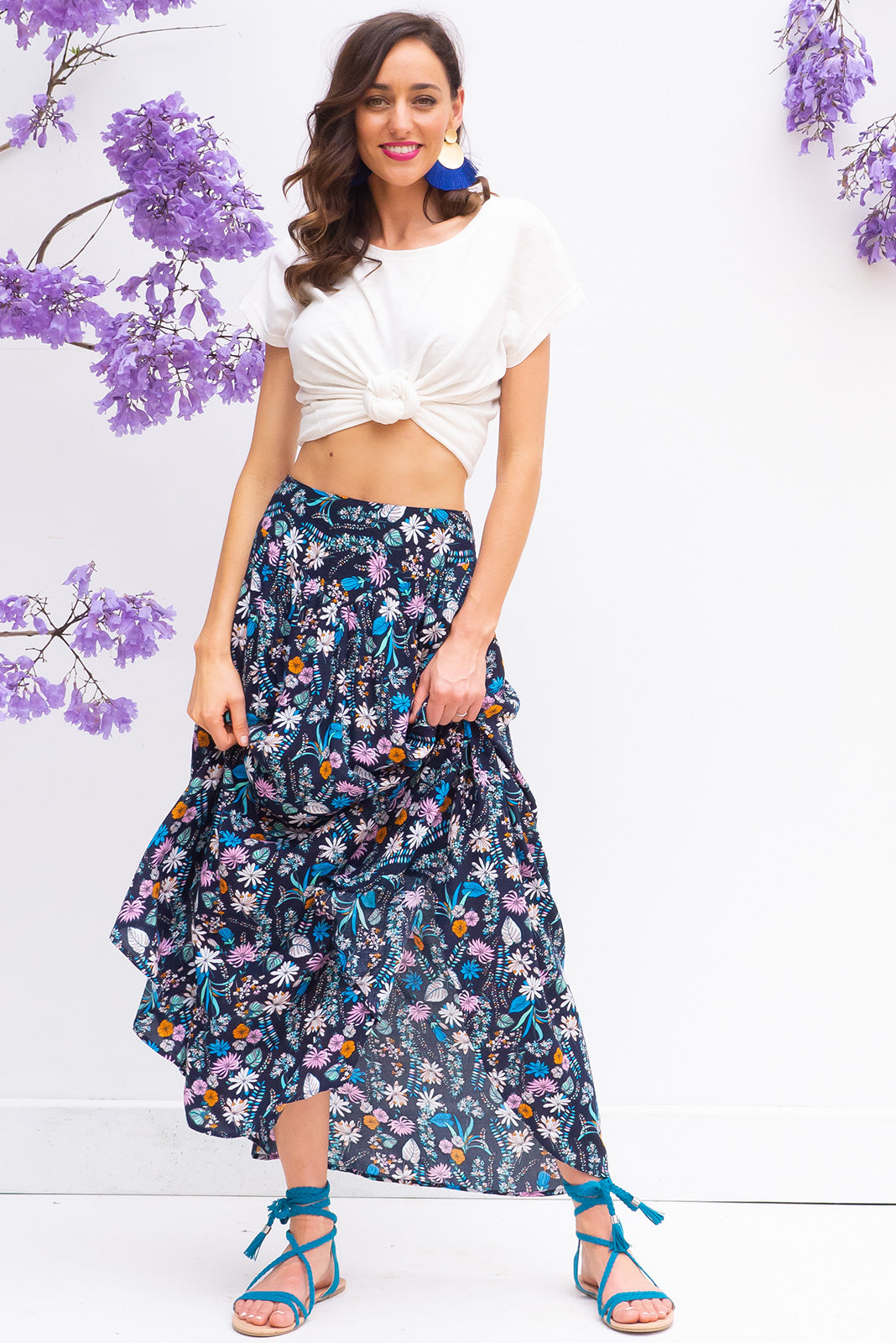 Sails Palma Navy Maxi Skirt with a soft ruched elastic back and pockets in a gorgeous bright navy intricate floral print on rayon fabric