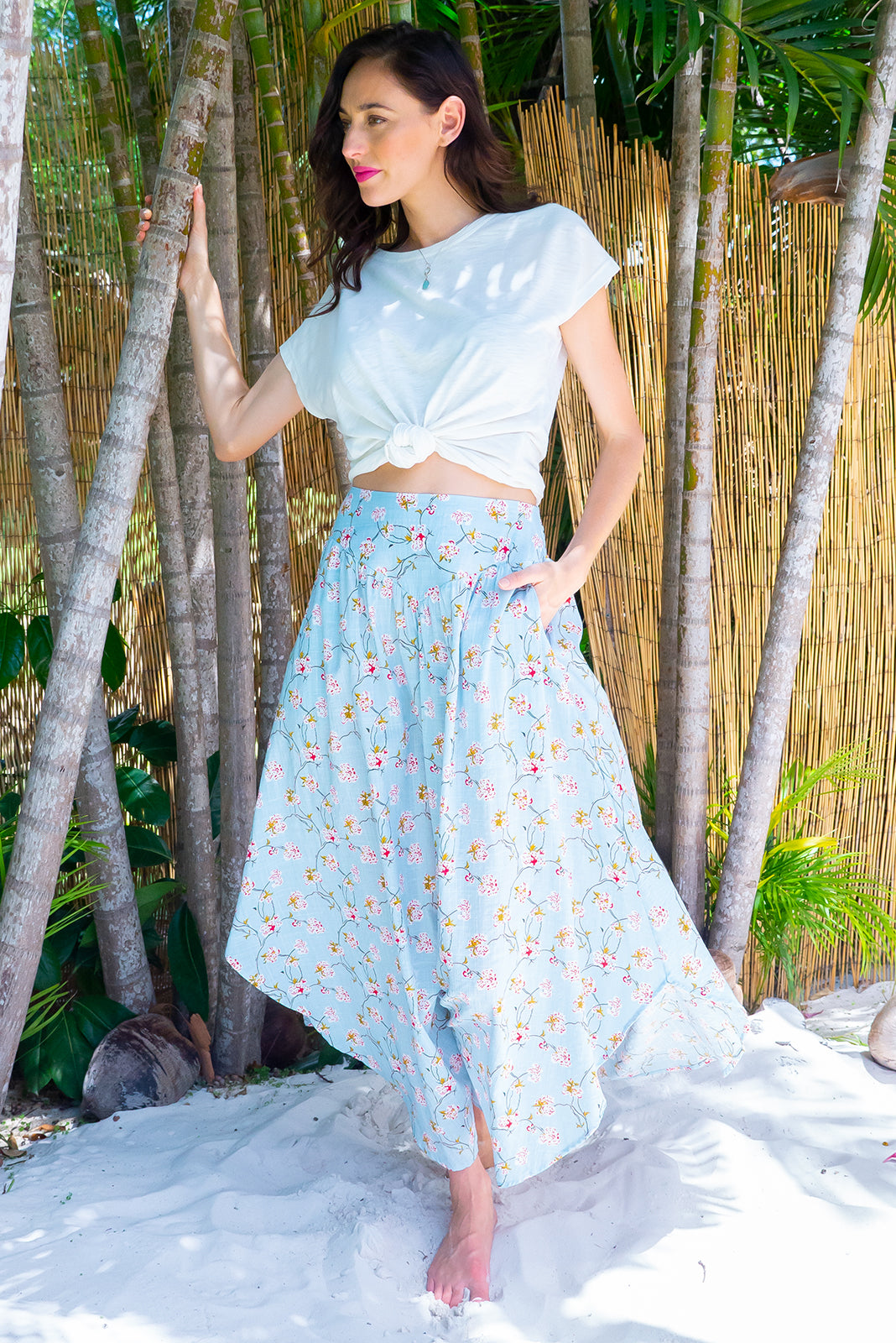 Sails Powder Bloom Maxi Skirt with a soft ruched elastic back and pockets in a gorgeous soft powder and floral print on a cotton rayon blend fabric