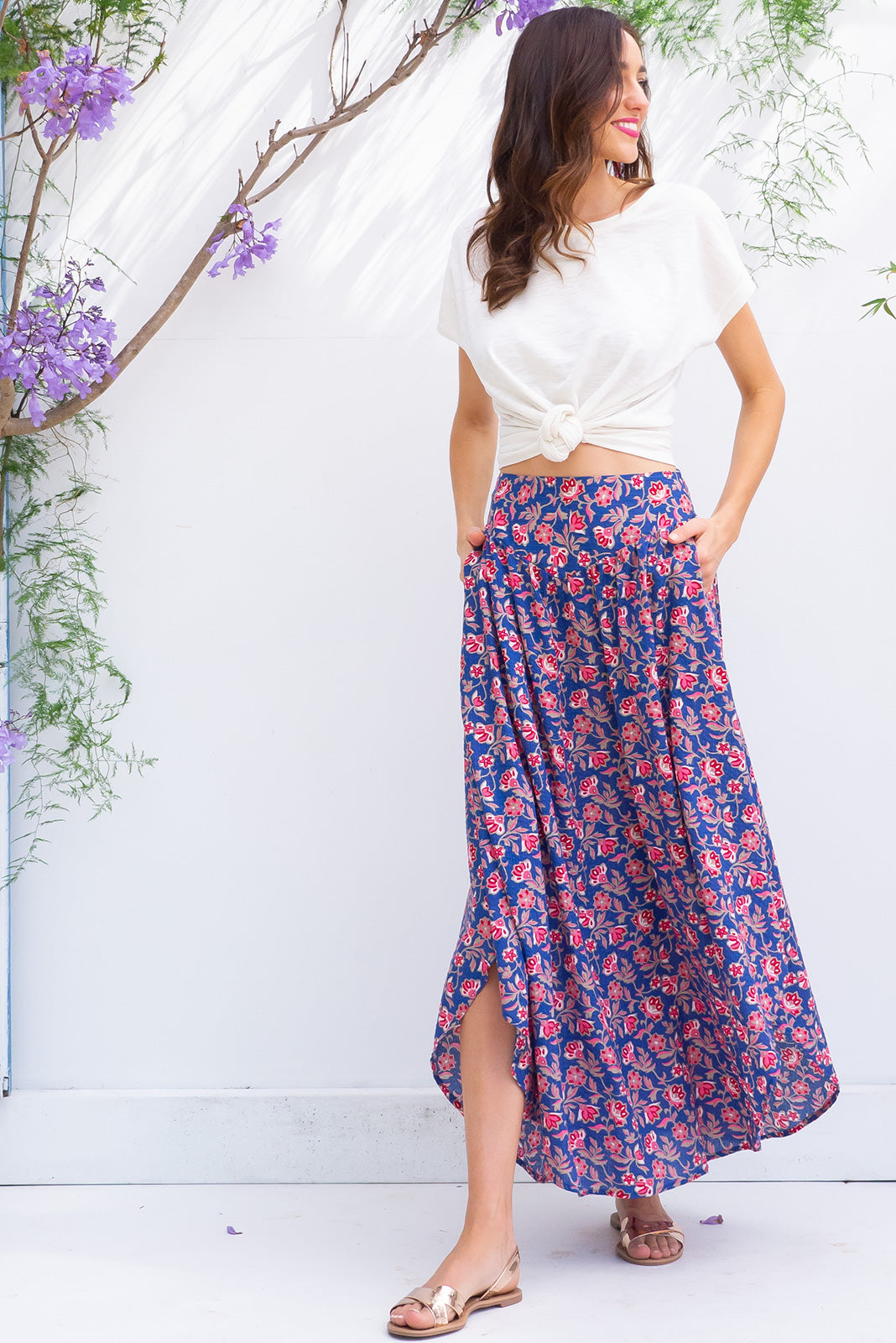 Sails Faraway Blue Maxi Skirt with a soft ruched elastic back and pockets in a gorgeous lapis blue and bright pink floral print on a cotton rayon blend fabric
