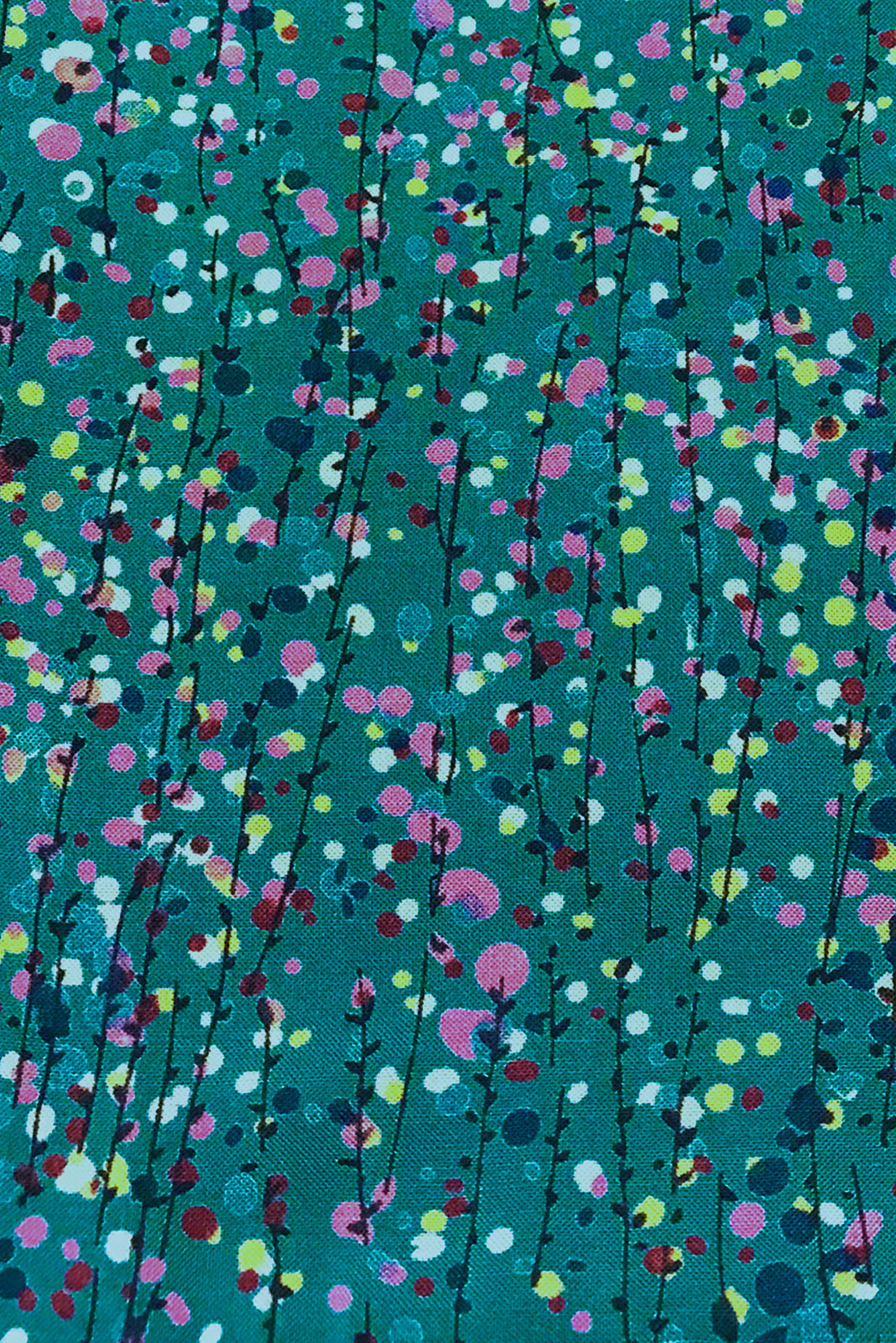 Fabric Swatch of Sally Trellis Teal Mini Dress featuring woven 100% rayon in teal base with petite water coloured vine print.