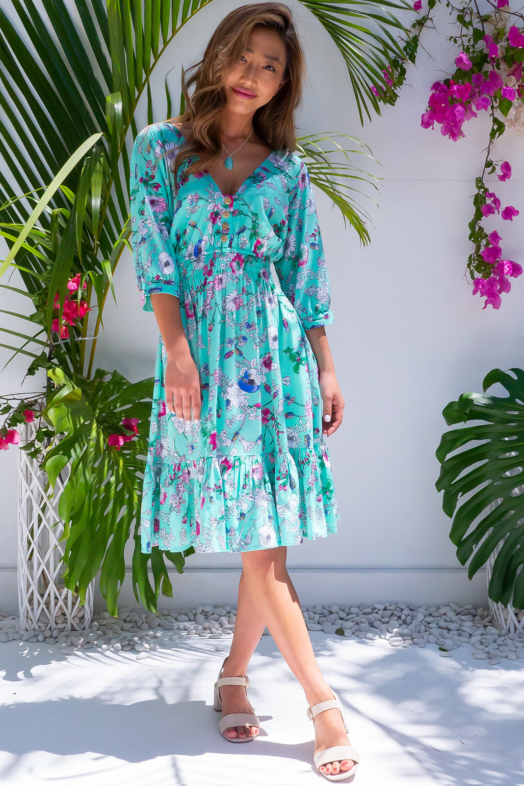 Sally Aqua Mist Midi Dress