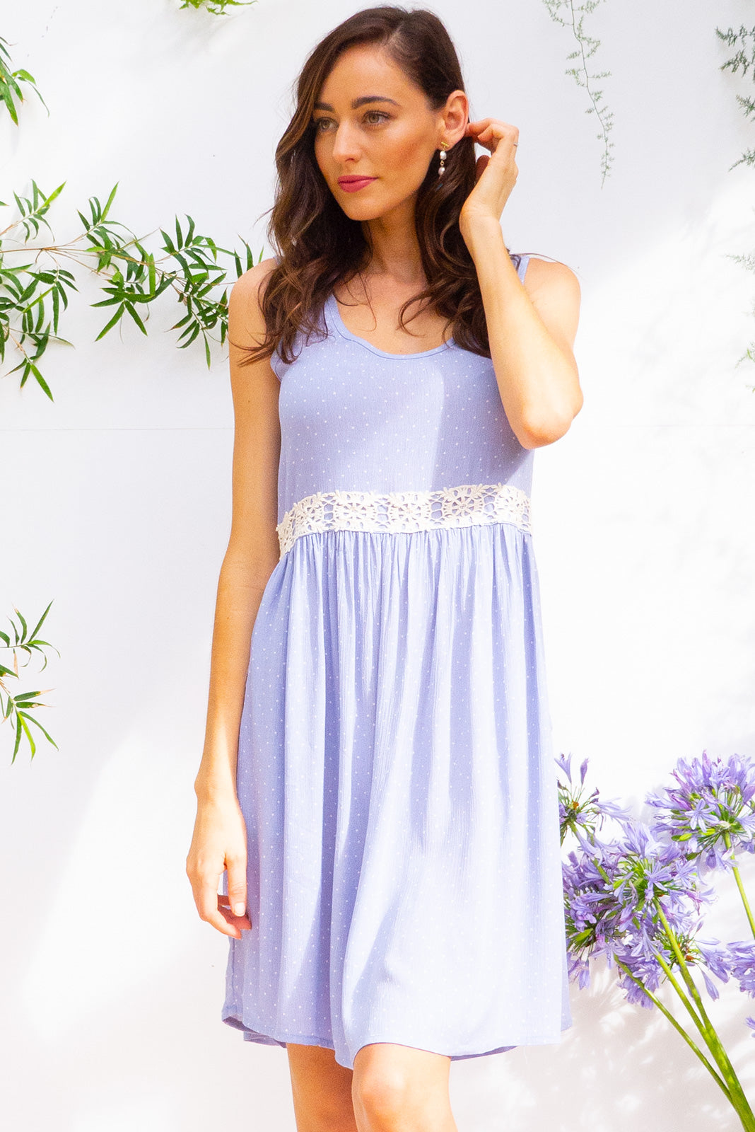 Sandi Beach Powder Blue Dress is a soft cut sleeveless dress with a adjustable button tab with feature cotton lace in a soft powder blue and white pin spot printed crinkle textured woven rayon