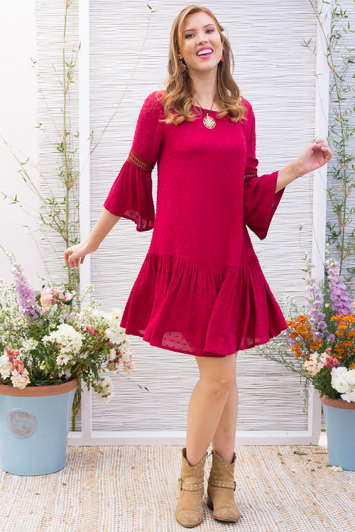 Savannah Dress Wine Red