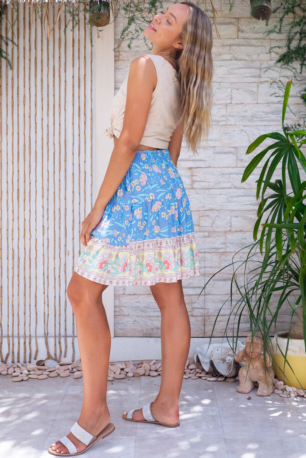 The Sea Coast Mini Skirt Cornflower Blue is comfortable pull-on style featuring elasticated back waistband, tiered for flirty fullness, side pockets and 100% viscose in blue base with border feature.