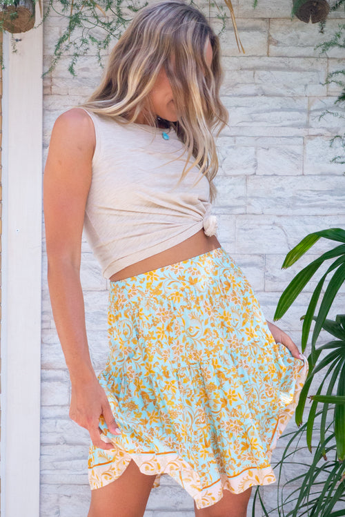 Sea Coast Mini Skirt Seafoam